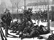Franco-Prussian War 1870-1871:  Occupation of Paris by German troops. Germans in Paris waiting for a passage home. Wood engraving, London, 18 March 1871