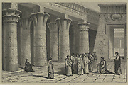 'Apollonius of Perga (c262-190 BC) Ancient Greek geometer and astronomer, giving a demonstration in Alexandria where, as a young man, he studied, and then taught. Engraving, Paris, 1866.'