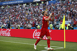 June 18, 2018 - Sochi, RUSSIA - Belgium's Dries Mertens celebrates after scoring the 1-0 goal during the first round soccer match between Belgian national soccer team the Red Devils and Panama in Group G of the FIFA World Cup 2018, in Sochi, Russia, Monday 18 June 2018. BELGA PHOTO BRUNO FAHY (Credit Image: © Bruno Fahy/Belga via ZUMA Press)