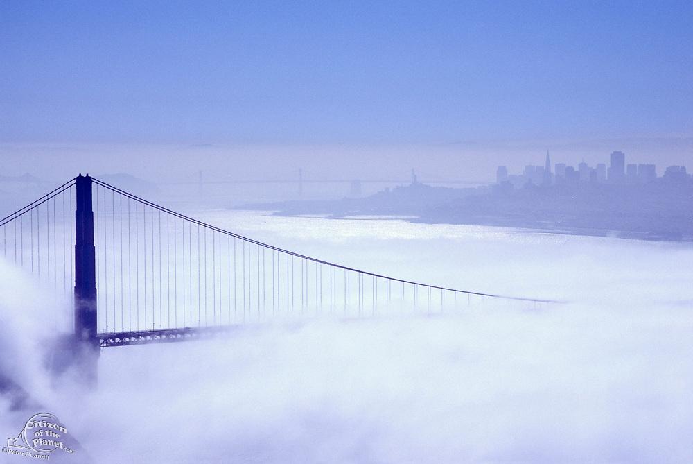 Golden Gate Bridge & San Francisco Skyline in Morning Fog, California (SF)