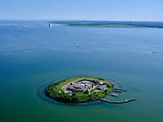 Nederland, Noord-Holland, Pampus, 02-09-2020; Forteiland Pampus in het IJmeer, onderdeel van de Stelling van Amsterdam. Rijksmonument, onderdeel van de Werelderfgoedlijst van Unesco. Almere (Almere-Pampus en Pampus-Poort) in de achtergrond.<br /> Fort Pampus Island in the IJmeer, part of the Defence Line of Amsterdam. Unesco World Heritage.<br /> luchtfoto (toeslag op standard tarieven);<br /> aerial photo (additional fee required);<br /> copyright foto/photo Siebe Swart