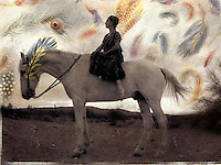 """Archetypal woman and horse.<br /> :::<br /> """"To achieve the impossible, it is precisely the unthinkable that must be thought."""" <br /> ― Tom Robbins, Jitterbug Perfume"""