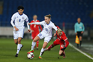 Svetlana Bortnikova of Kazakhstan (13) tackles Jessica Fishlock of Wales (10). Wales Women v Kazakhstan Women, 2019 World Cup qualifier match at the Cardiff City Stadium in Cardiff , South Wales on Friday 24th November 2017.    pic by Andrew Orchard