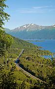 Alaska. Scenic view of the Seward Highway, Turnagain Arm, fomr the Bird Ridge Trail.