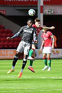Fisayo Dele-Bashiru of Sheffield Wednesday heads the ball during the EFL Cup match between Walsall and Sheffield Wednesday at the Banks's Stadium, Walsall, England on 5 September 2020.