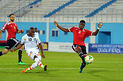 October 7, 2017 - Monastir, Tunisia - Kebano Neeskens(10) of Dr Congo and Ahmed Al Maghasi(2) during the qualifying match for the FIFA 2018 World Cup in Russia between Libya and the Democratic Republic of Congo (DR Congo) at Mustapha Ben Jannet stadium in Monastir  (Credit Image: © Chokri Mahjoub via ZUMA Wire)
