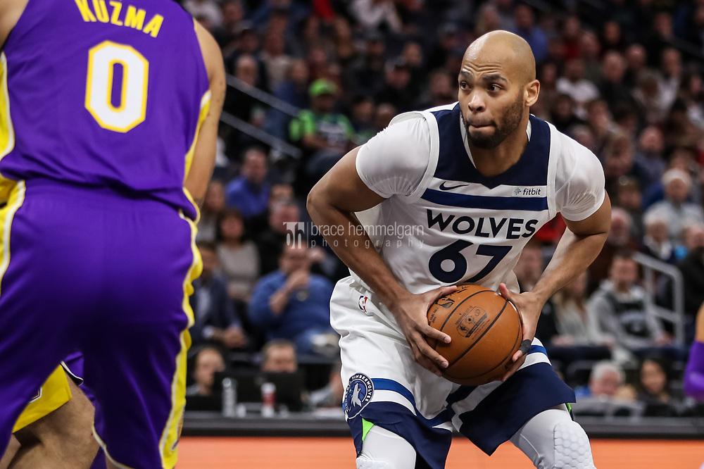 Feb 15, 2018; Minneapolis, MN, USA; Minnesota Timberwolves forward Taj Gibson (67) looks to pass during the third quarter against the Los Angeles Lakers at Target Center. Mandatory Credit: Brace Hemmelgarn-USA TODAY Sports