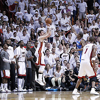 21 June 2012: Miami Heat shooting guard Mike Miller (13) takes a three points jumpshot over Oklahoma City Thunder small forward Kevin Durant (35) during the Miami Heat 121-106 victory over the Oklahoma City Thunder, in Game 5 of the 2012 NBA Finals, at the AmericanAirlinesArena, Miami, Florida, USA. The Miami Heat wins the series 4-1.