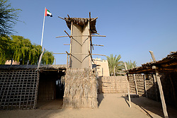 Bait al Sahel or The Coast People's House on display at Heritage Village in Abu Dhabi United Arab Emirates
