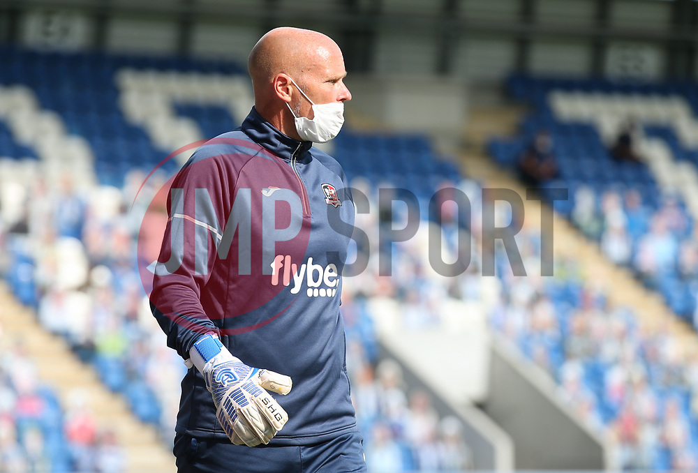 Exeter goalkeeper coach seen wearing a mask before kick off - Mandatory by-line: Arron Gent/JMP - 18/06/2020 - FOOTBALL - JobServe Community Stadium - Colchester, England - Colchester United v Exeter City - Sky Bet League Two Play-off 1st Leg