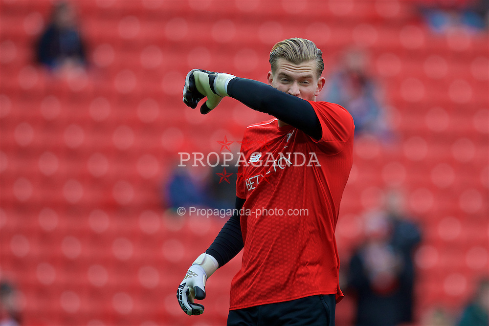 LIVERPOOL, ENGLAND - Sunday, November 6, 2016: Liverpool's goalkeeper Loris Karius warms-up before the FA Premier League match against Watford at Anfield. (Pic by David Rawcliffe/Propaganda)