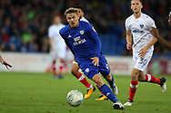 Danny Ward of Cardiff city in action.Carabao Cup, 1st round match, Cardiff city v Portsmouth at the Cardiff city Stadium in Cardiff, South Wales on Tuesday August 8th 2017.<br /> pic by Andrew Orchard, Andrew Orchard sports photography.