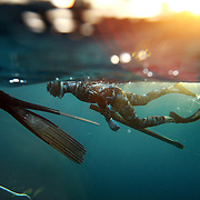 """SUMMARY - """"Blood in the Water"""" Spearfishing is a type of hunting done with underwater guns, harpoons and strong line. Freediving is a type of breath-hold diving in which divers descend for the duration of one breath, without any SCUBA tanks or any breathing apparatus. The best freedivers can hold their breath for over five minutes and go deeper than 100 feet. The combination of both these skills makes a high adrenaline sport done by only a few brave souls...THIS IMAGE - Ren Chapman prepares for a dive with a loaded and ready speargun while another diver rests, holding onto a dive-line to stay in position against the current.  """"Blood in the water - Predive"""""""