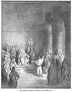 Joseph Interpreting the Pharaoh's Dream Genesis 41:25-26 From the book 'Bible Gallery' Illustrated by Gustave Dore with Memoir of Doré and Descriptive Letter-press by Talbot W. Chambers D.D. Published by Cassell & Company Limited in London and simultaneously by Mame in Tours, France in 1866