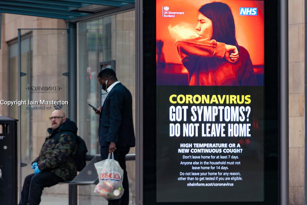 Edinburgh, Scotland, UK. 9 June 2020.  Coronavirus health warning signs are still displayed in public areas in the city.  Iain Masterton/Alamy Live News