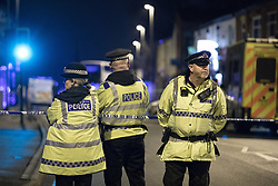 © Licensed to London News Pictures . FILE PIC 31/12/2016 . Oldham , UK . Police and forensic at the scene of a hit and run on Ashton Road in Oldham, where Helina Kotlarova and Zaneta Krokova were hit and later died. A funeral for Helina Kotlarova and Zaneta Krokova was held today (Mon) in Oldham.  Photo credit : Joel Goodman/LNP
