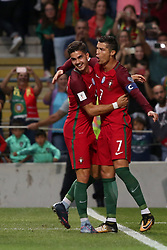 August 31, 2017 - Porto, Portugal - Portugal's forward Cristiano Ronaldo celebrates with Portugal's forward Andre Silva after scoring a goal during the 2018 FIFA World Cup qualifying football match between Portugal and Faroe Islands at the Bessa XXI stadium in Porto, Portugal on August 31, 2017. (Credit Image: © Pedro Fiuza/NurPhoto via ZUMA Press)