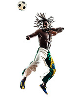 one Brazilian black man soccer player heading football on white background
