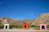Roadside shrines by highway, northern Mexico