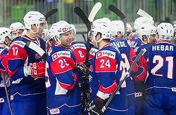 Robert Sabolic of Slovenia and Rok Ticar of Slovenia celebrate after winning the ice-hockey match between Great Britain and Slovenia at IIHF World Championship DIV. I Group A Slovenia 2012, on April 15, 2012 in Arena Stozice, Ljubljana, Slovenia. Slovenia defeated Great Britain 3-2. (Photo by Vid Ponikvar / Sportida.com)