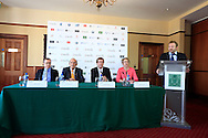 Barry Funston Chief Ececutive, Rory Foundation,Colm McLoughlin, Executive Vice Chairman, Dubai Duty Free,   George O'Grady, Chief Executive, European Tour, and Kathryn Thomson, Chief Operating Officer, Tourism Northern Ireland at the announcement of title sponsor for the Irish Open  to be the Dubai Duty Free Irish Open, to be held at Royal Co Down Golf Club, Newcastle, Co Down, Northern Ireland.<br /> Picture: Fran Caffrey / Golffile