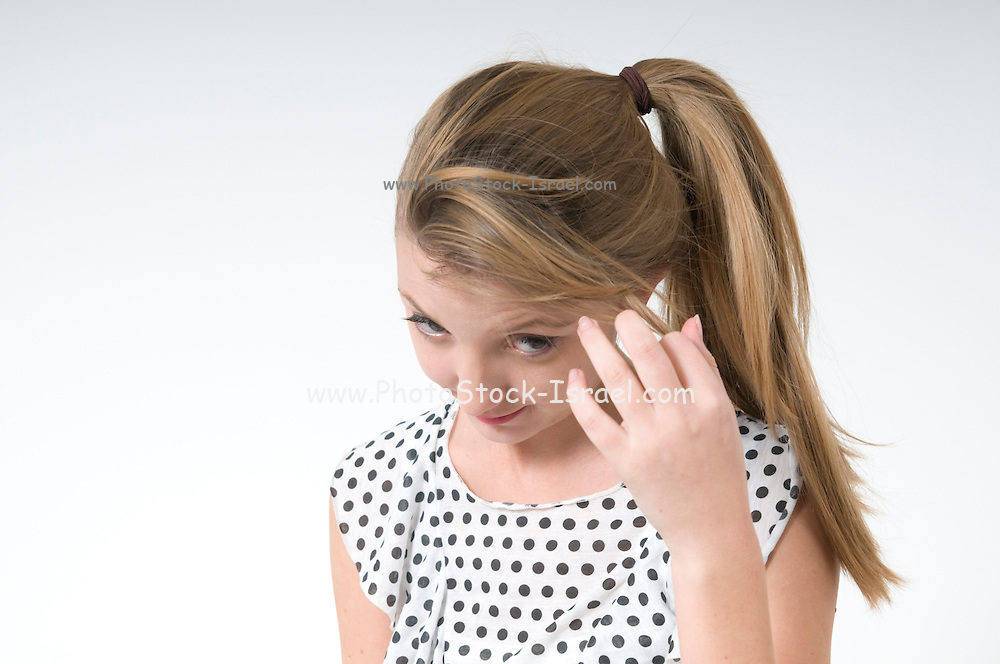 Timid teen On white Background