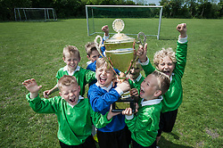 Young boys soccer team holding winners cup