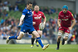 May 27, 2018 - Dublin, Ireland - Johnny Sexton of Leinster in action during the Guinness PRO14 Final match between Leinster Rugby and Scarlets at Aviva Stadium in Dublin, Ireland on May 26, 2018  (Credit Image: © Andrew Surma/NurPhoto via ZUMA Press)