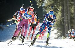 Lowell Bailey (USA) and Quentin Fillon Maillet (FRA)  during Men 15 km Mass Start at day 4 of IBU Biathlon World Cup 2015/16 Pokljuka, on December 20, 2015 in Rudno polje, Pokljuka, Slovenia. Photo by Vid Ponikvar / Sportida
