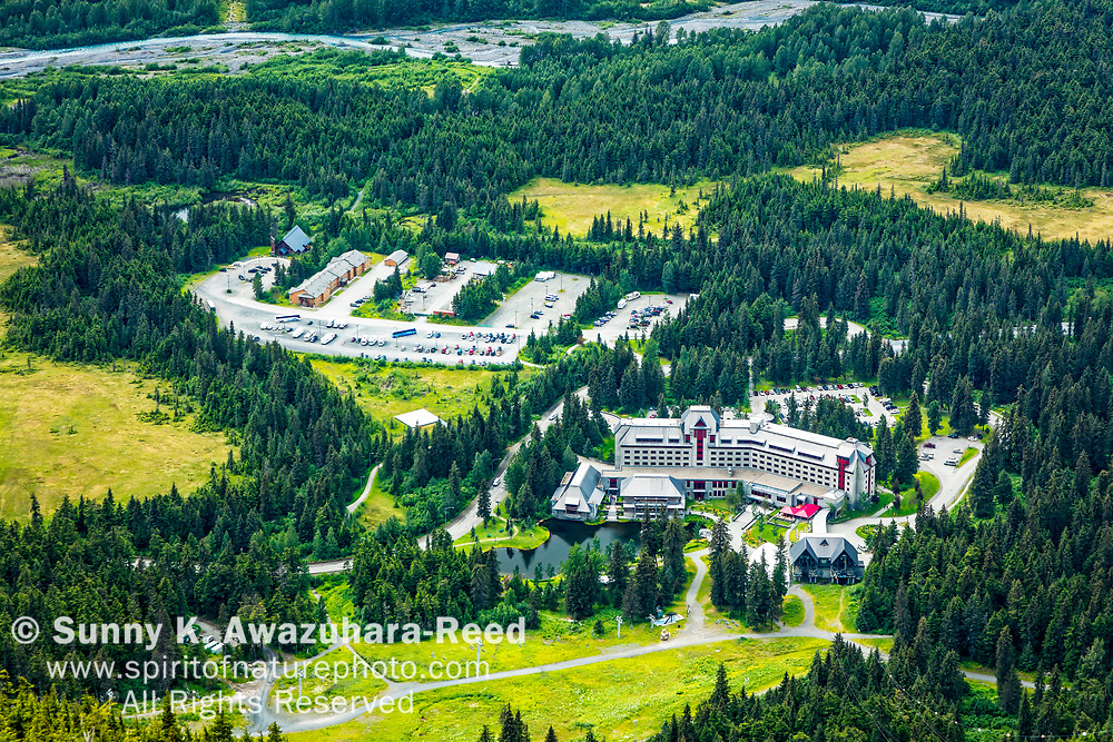 Aerial view of Alyeska Resort Hotel, viewed from top of Mt. Alyeska, Girdwood, Southcentral Alaska, Summer.