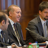 Recep Tayyip Erdogan (C) Prime Minister of Turkey talks during their meeting in Budapest, Hungary on February 05, 2013. ATTILA VOLGYI