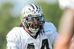 July 28, 2018 - Metairie, LA, U.S. - METAIRIE, LA. - JULY 28:  New Orleans Saints defensive end Hau'oli Kikaha (44) warms up during New Orleans Saints training camp practice on July 28, 2018 at the Ochsner Sports Performance Center in New Orleans, LA.  (Photo by Stephen Lew/Icon Sportswire) (Credit Image: © Stephen Lew/Icon SMI via ZUMA Press)