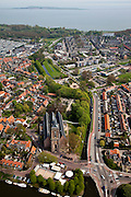 Nederland, Noord-Holland, Waterland, 28-04-2010; Monnickendam met Grote- of Sint Nicolaaskerk, jachthaven en Gouwzee in de achtergrond.luchtfoto (toeslag), aerial photo (additional fee required).foto/photo Siebe Swart