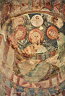 """picture & image of a fresco of Christ Pantocrator in the altar apse of the Samtavisi Georgian Orthodox Cathedral, 17th century, Shida Karti Region, Georgia (country)<br /> <br /> Built during the so called 10-11th century """"Georgian Golden Era"""" Samtavisi cathedral is a built in classical Georgian style of the period. Layout on a cruciform ground plan with a high central cylindrical central cupola. .<br /> <br /> Visit our MEDIEVAL PHOTO COLLECTIONS for more   photos  to download or buy as prints https://funkystock.photoshelter.com/gallery-collection/Medieval-Middle-Ages-Historic-Places-Arcaeological-Sites-Pictures-Images-of/C0000B5ZA54_WD0s<br /> <br /> Visit our REPUBLIC of GEORGIA HISTORIC PLACES PHOTO COLLECTIONS for more photos to browse, download or buy as wall art prints https://funkystock.photoshelter.com/gallery-collection/Pictures-Images-of-Georgia-Country-Historic-Landmark-Places-Museum-Antiquities/C0000c1oD9eVkh9c"""