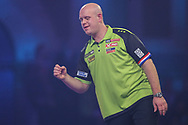 Michael van Gerwen reaction after missing a dart at a double during the PDC William Hill World Darts Championship Semi-Final at Alexandra Palace, London, United Kingdom on 30 December 2019.