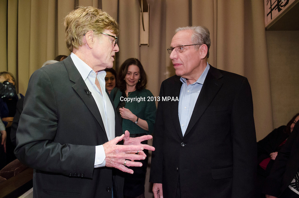 """Actor Robert Redford and Bobwood pose for a photo after a panel discussion with actor Robert Redford, Sen. Chris Dodd(chairman of the Motion Picture Association of America ) and moderated by Ann Hornaday, Washington Post film critic tilted """"An evening with Robert Redford"""" at the Motion Pictures Association of America headquarters in Washington DC on April 19, 2013. Photo by Kris Connor/MPAA"""