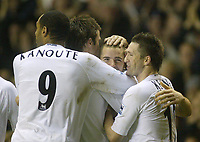1/1/2005 - FA Barclays Premiership - Tottenham Hotspur v Everton - White Hart Lane<br />Tottenham Hotspur's Dean Marney (facing, centre) celebrates with his team mates (L to R) Fredi Kanouté, Michael Carrick, Marney and Robbie Keane after scoring his second goal of the game<br />Photo:Jed Leicester/Back Page Images