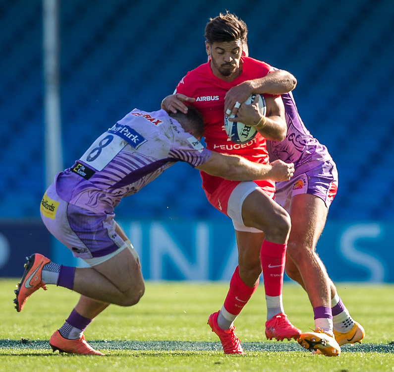 Toulouse's Romain Ntamack in action during todays match<br /> <br /> Photographer Bob Bradford/CameraSport<br /> <br /> European Rugby Heineken Champions Cup Semi-Final - Exeter Chiefs v Toulouse - Saturday 26th September 2020 - Sandy Park - Exeter<br /> <br /> World Copyright © 2019 CameraSport. All rights reserved. 43 Linden Ave. Countesthorpe. Leicester. England. LE8 5PG - Tel: +44 (0) 116 277 4147 - admin@camerasport.com - www.camerasport.com