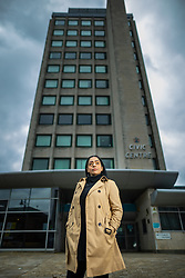 © Licensed to London News Pictures . 14/05/2021. Oldham , UK . Cllr AROOJ SHAH (pictured in front of Oldham Civic Centre), who represents the Chadderton South ward on Oldham Council, has been elected as the new leader of Oldham's Labour Group and is due to be confirmed as leader of the council on 19th May 2021 . She will be the first Muslim woman to lead the council . Photo credit : Joel Goodman/LNP