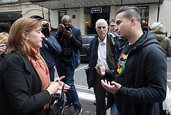 © Licensed to London News Pictures. 14/09/2017. London, UK. Grenfell resident Paul Menacar (R) asks local MP Emma Dent Coad why she hasn't visited him as they stand outside The Connaught Rooms on the first day of the public inquiry into the Grenfell fire. Police say they believe 80 people died in the tragedy. Photo credit: Peter Macdiarmid/LNP