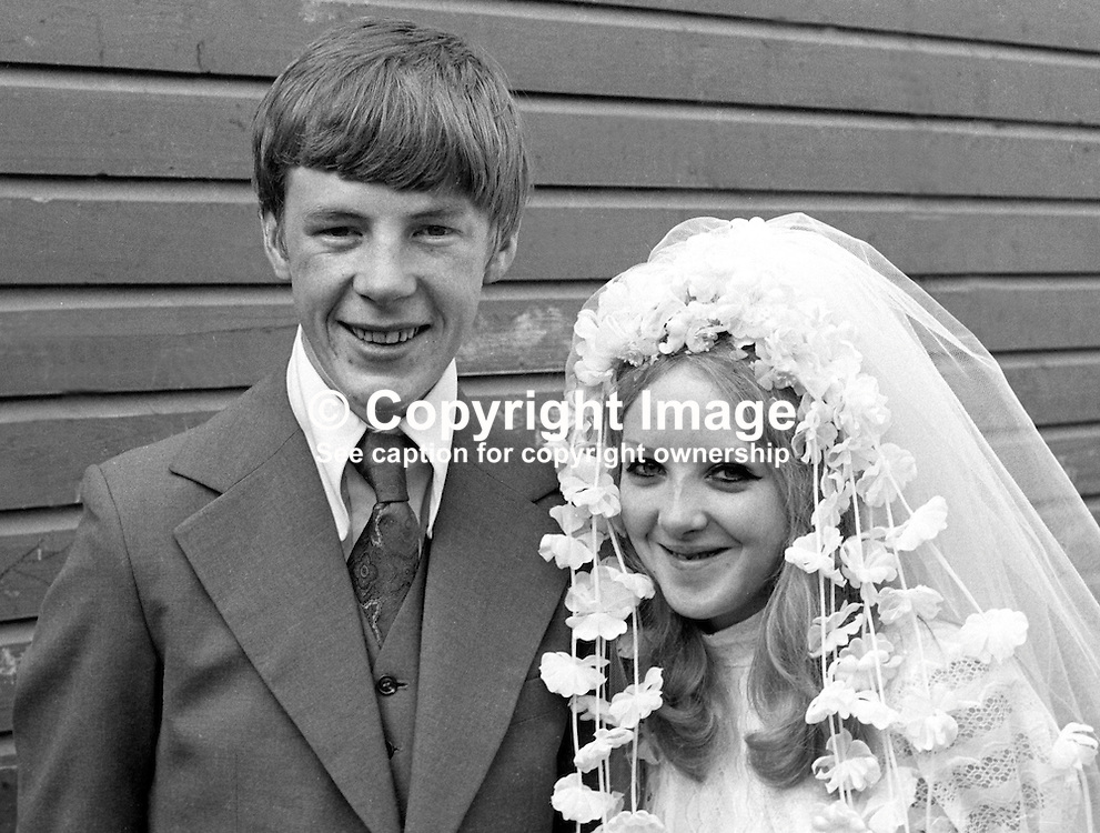 Michael McGuigan, from, 19 Jamaica Street, Belfast, N Ireland, with his bride, wife, Rosemary Donnelly, wedding, 26th August 1972, 197208260446c<br /> <br /> Copyright Image from Victor Patterson, Belfast, UK<br /> <br /> t: +44 28 9066 1296 (from Rep of Ireland 048 9066 1296)<br /> m: +44 7802 353836<br /> e: victorpattersonbelfast@gmail.com<br /> <br /> www.images4media.com<br /> <br /> Please see my full Terms and Conditions of Use at https://www.images4media.com/p/terms-conditions - it is IMPORTANT that you familiarise yourself with them.<br /> <br /> Images used online incur an additional cost. This cost should be agreed in writing in advance. Online images must be visibly watermarked i.e. © Victor Patterson or that of the named photographer within the body of the image. The original metadata must not be deleted from images used online.<br /> <br /> This image is only available for the use of the download recipient i.e. television station, newspaper, magazine, book publisher, etc, and must not be passed on to a third party. It is also downloaded on condition that each and every usage is notified within 7 days to victorpattersonbelfast@gmail.com.<br /> <br /> The right of Victor Patterson (or the named photographer) to be identified as the author is asserted in accordance with The Copyright Designs And Patents Act (1988). All moral rights are asserted.