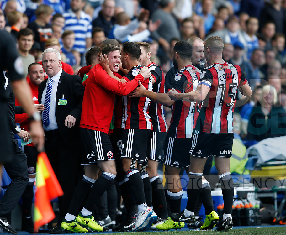 The Sheffield Utd bench celebrate Leon Clarke's first goal during the Championship match at the Hillsborough Stadium, Sheffield. Picture date 24th September 2017. Picture credit should read: Simon Bellis/Sportimage