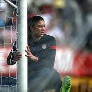 U.S. goalkeeper Hope Solo (1) warms up prior to a women's soccer International friendly match between Brazil and the United States National Team, at the Florida Citrus Bowl  on Sunday, November 10, 2013 in Orlando, Florida. The U.S won the game by a score of 4-1.  (AP Photo/Alex Menendez)