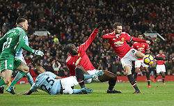 Manchester United's Juan Mata makes a failed attempt at goal during the Premier League match at Old Trafford, Manchester.