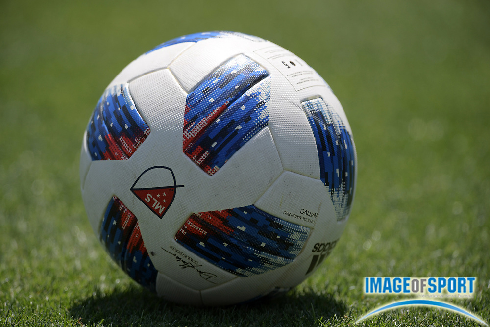 Apr 10, 2018; Los Angeles, CA, USA; General overall view of a MLS official Adidas soccer ball at LAFC practice at Cal State LA.