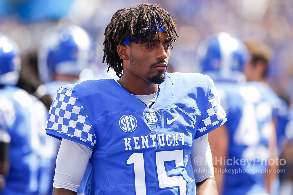 LEXINGTON, KY - SEPTEMBER 09: Stephen Johnson #15 of the Kentucky Wildcats is seen during the game against the Eastern Kentucky Colonels at Kroger Field on September 9, 2017 in Lexington, Kentucky. (Photo by Michael Hickey/Getty Images) *** Local Caption *** Stephen Johnson