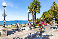 The bike path along the sea wall and English Bay Beach on the West End in downtown Vancouver, British Columbia, Canada