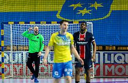 Vincent Gerard of Paris celebrates during handball match between RK Celje Pivovarna Lasko (SLO) and Paris Saint-Germain Handball (FRA) in Round of 16 of EHF Champions League 2020/21, on April 1, 2021 in Arena Zlatorog, Celje, Slovenia. Photo by Vid Ponikvar / Sportida