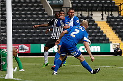 Notts County Penalty appeals were turned down for this blatant handball when the score was 1-3 - Photo mandatory by-line: Matt Bunn/JMP - Tel: Mobile: 07966 386802 10/08/2013 - SPORT - FOOTBALL -  Meadow Lane - Nottinghamshire -  Notts County v Peterborough United - Sky Bet League 1