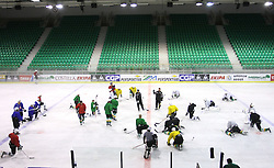 Assistant coach Bojan Zajc and head coach Mike Posma with players at second ice hockey practice of HDD Tilia Olimpija on ice in the new season 2008/2009, on August 19, 2008 in Hala Tivoli, Ljubljana, Slovenia. (Photo by Vid Ponikvar / Sportal Images)